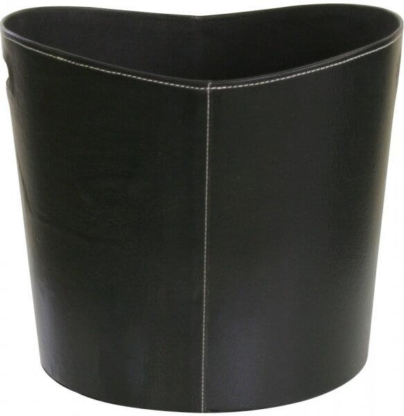 Kaminkorb - Brennholzkorb aus Kunstleder in der Farbe Schwarz - 39 x 39 x 35cm