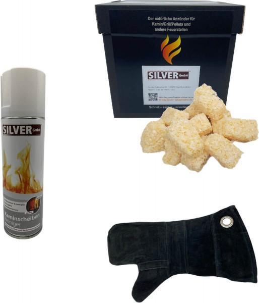1kg Feuerwürfel + 1x 300ml Kaminscheiben Reiniger + 1x Leder Hitzeschutzhandschuh