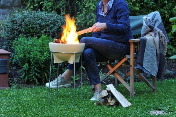 Set Feuerschale CeraFlam® mit Pfannenhaltern & Ständer aus rostfreiem Edelstahl - FFF+ST