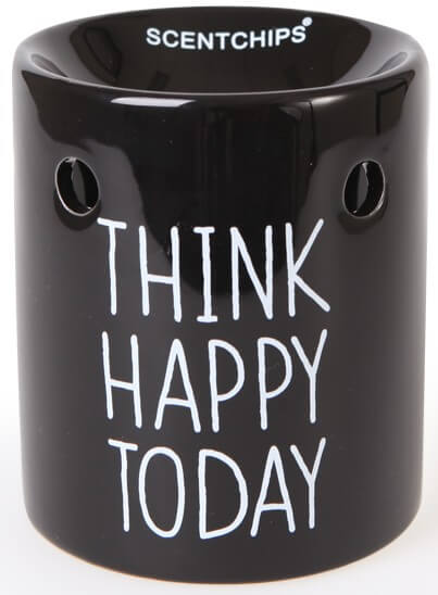 Scentburner - Schmelzlampe - Schmelzlicht Text Black / White ~ Think Happy Today ~ w8.5 x h10cm