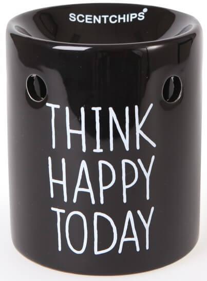 Scentburner - Schmelzlampe - Schmelzlicht Text Black / White ~ Think Happy Today ~ w8.5 x h10cm