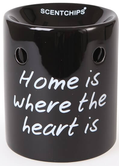 Scentburner - Schmelzlampe - Schmelzlicht Text  Black / White ~ Home is... ~ w8.5 x h10cm