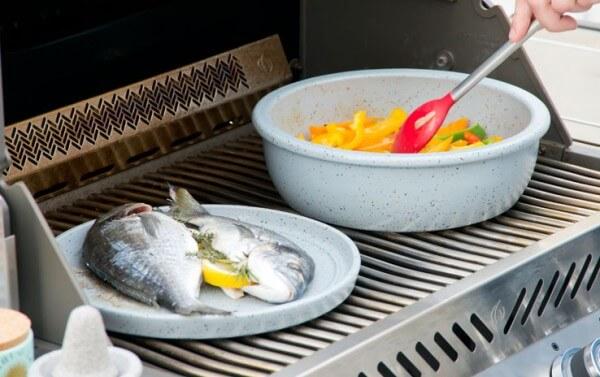 Set Keltentopf mit Bratplatte / Deckel aus CeraFlam Keramik - Outdoor-Cooking - KET+BP
