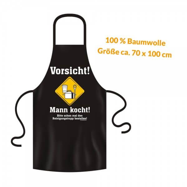 Grillschürze - Küchenschürze - Kochschürze ~ Vorsicht! Mann kocht! ~ (2929)
