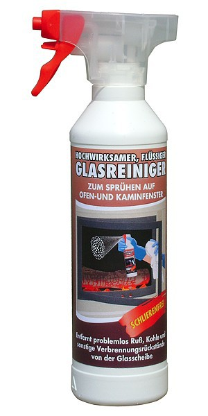 Flüssiger Kamin und Ofenglas Reiniger 0,5 l mit Sprühkopf