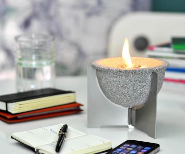 Schmelzfeuer Indoor M Granicium mit Deckel und Fuß aus Edelstahl - SMG