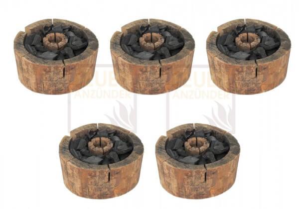 5x Einweggrill - Bio Holzgrill - 100% nachwachsende Rohstoffe - 100% Naturprodukt