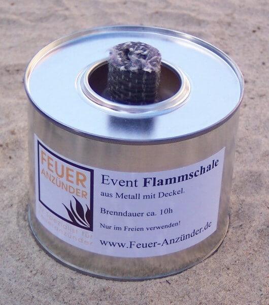 1x Event Flammschale klein aus Metall mit Deckel - Brenndauer ca. 10h