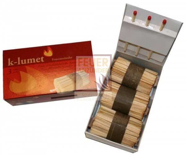 K-lumet Feueranzünder - Kamin- und Grillanzünder 3er Geschenkpackung (3 Anzünder)