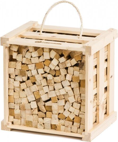 HölzLi Anzündholz - Anfeuerholz aus Fichten- und Kieferholzstäbchen in Holztragekiste