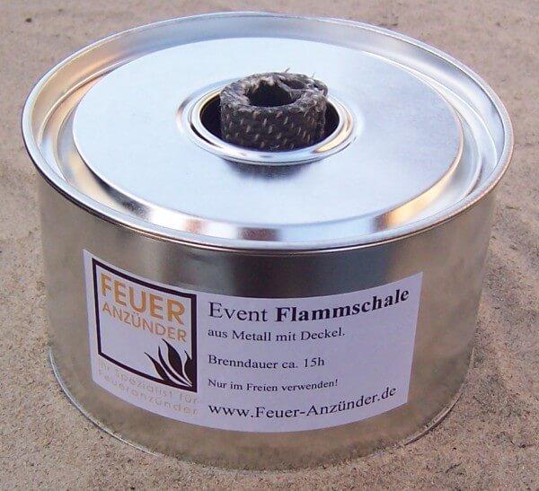 1x Event Flammschale groß aus Metall mit Deckel - Brenndauer ca. 15h