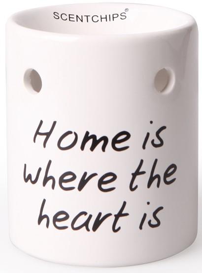 Scentburner - Schmelzlampe - Schmelzlicht Text White / Black ~ Home is... ~ w8.5 x h10cm