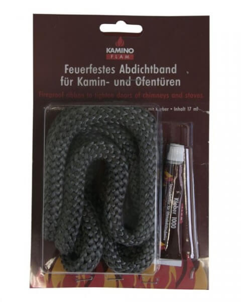 Kamindichtungen Ø 10 mm x 2m inkl. feuerfestem Kleber