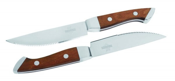 Premium Steakmesser mit Holzgriff - 2er Set - rostfreier Messerstahl