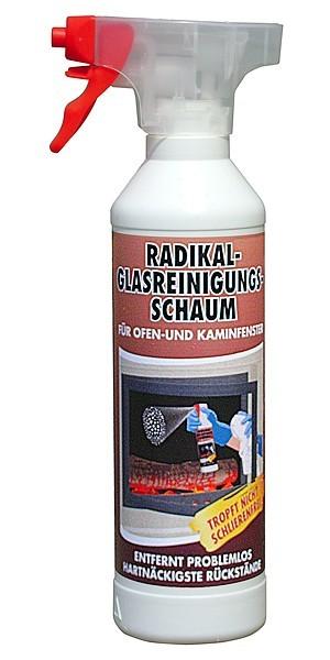 Radikal Reiniger Glasreinigungs Schaum für Kamin und Ofenglas 0,5 l mit Sprühkopf